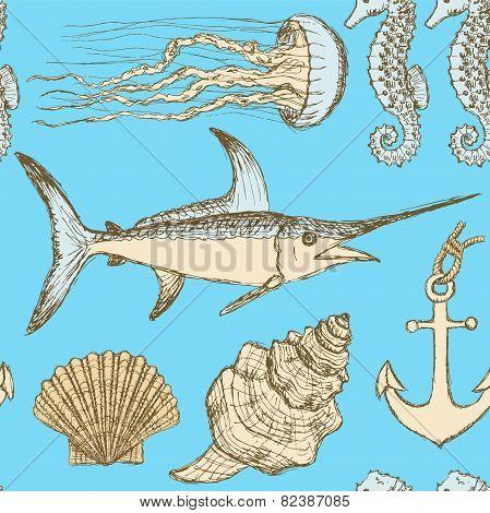Sketch Sea Set In Vintage Style