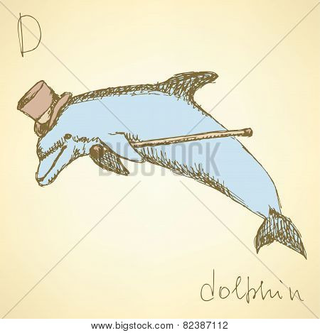 Sketch Fancy Dolphin In Vintage Style