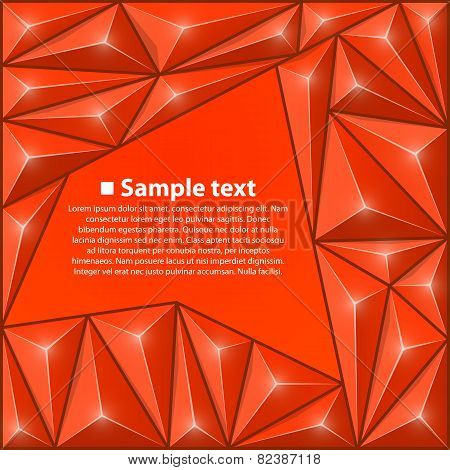 Vector background with triangles. Red