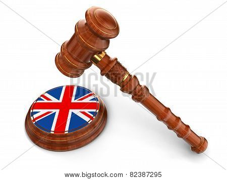 Wooden Mallet and United Kingdom flag (clipping path included)