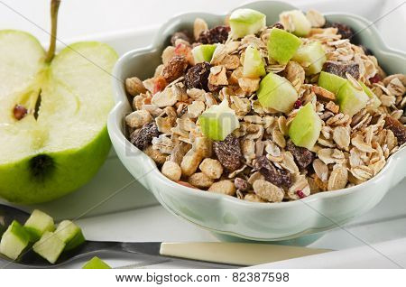 Healthy Bowl Of Muesli, Apple For A Nealthy Breakfast