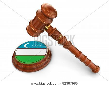 Wooden Mallet and Uzbek flag (clipping path included)