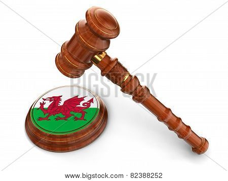 Wooden Mallet and Welsh flag (clipping path included)