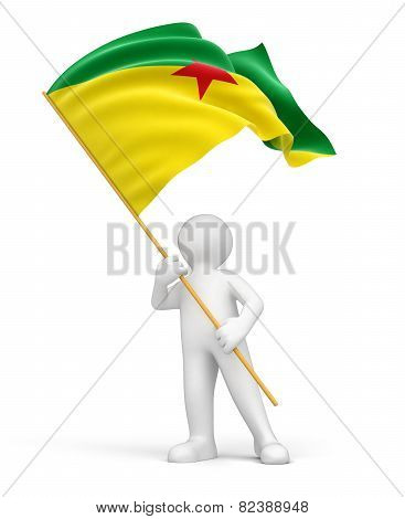 Man and French Guiana flag (clipping path included)
