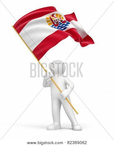 Man and French Polynesia flag (clipping path included)