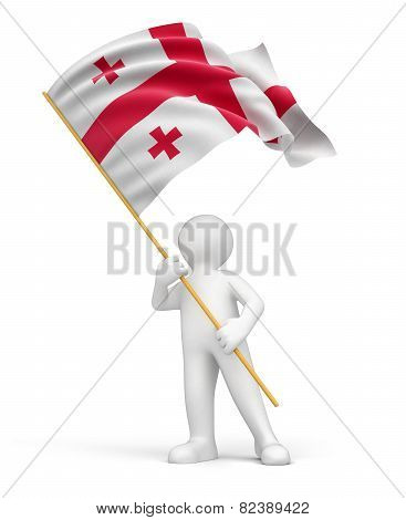 Man and Georgian flag (clipping path included)