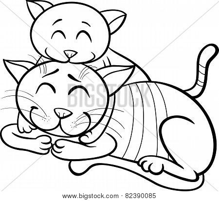 Happy Cat And Kitten Coloring Book