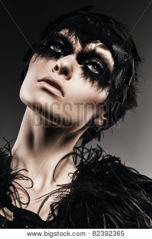 Sexy Woman With Black Feather On Eyes