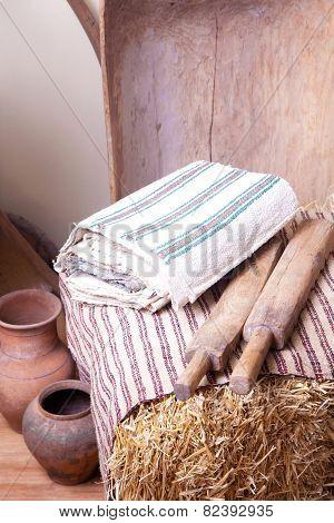 Vintage household items and homespun cloth