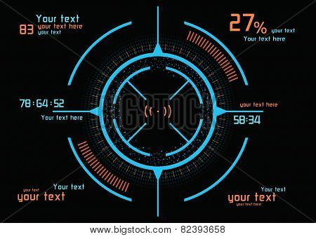 Futuristic Blue And Orange Infographics