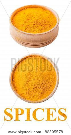 Turmeric In A Wooden Bowl