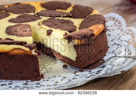 Russian Plucking Cake On Rustic Wooden Background Is Cut