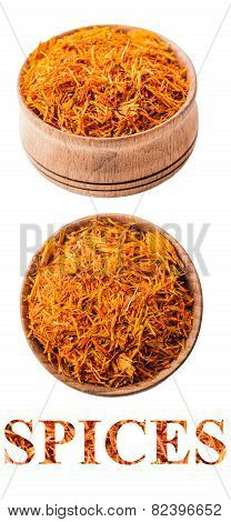 Saffron In A Wooden Bowl