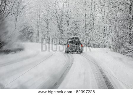 Driving In Snowstorm