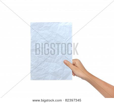 Hand Of Female Holding A Blank Paper