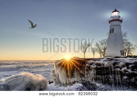 Marblehead Lighthouse Winter Sunrise