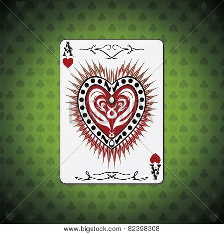 Ace Hearts, Poker Cards Green Background