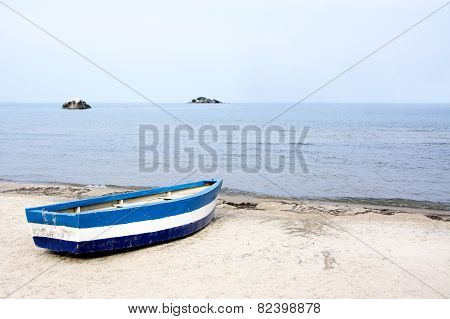 Blue Rowing Boat on the Beach of Lake Malawi, Malawi, Africa