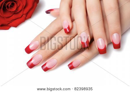 Red French Manicure