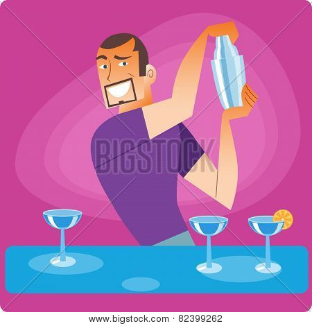 Stylish bartender prepares a cocktail