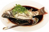 stock photo of grouper  - Grilled grouper fish grouper in soy sauce - JPG