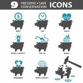 stock photo of time-saving  - Set Preserve Save Conservation Icons with Piggy Bank and Money Time - JPG