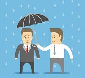 picture of slave  - Slave covers the boss from the rain by umbrella - JPG