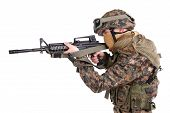 image of m4  - US MARINE with m4 carbine isolated on white - JPG