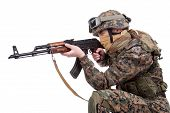 picture of kalashnikov  - US MARINES with kalashnikov assault rifle isolated on white - JPG