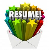 image of promoter  - Resume 3d word and stars bursting out an envelope to illustrate promoting your skills - JPG