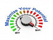stock photo of maxim  - 3d illustration of knob set at maximum for potential - JPG