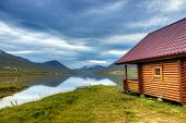 picture of log cabin  - Log cabin on a scenic lake in Northern Iceland - JPG