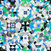 foto of color geometric shape  - Colorful geometric abstract pattern with variety of shapes and colors in 1970s fashion style - JPG