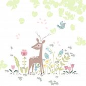 stock photo of deer  - forest theme card with deer in flowers - JPG