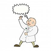 pic of mad scientist  - cartoon mad scientist with speech bubble - JPG