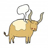 pic of oxen  - cartoon ox with speech bubble - JPG
