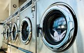 stock photo of dirty-laundry  - line of laundry machine in the store - JPG