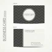 pic of chevron  - Vintage simple monochrome business card template for your design - JPG