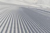 ������, ������: Fresh Snow Groomer Tracks On A Ski Piste