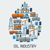 image of combustion  - Industrial background design with oil and petrol icons - JPG