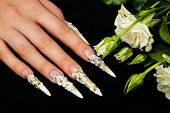 image of nail-design  - Female hand with white floral design nails on black background.
