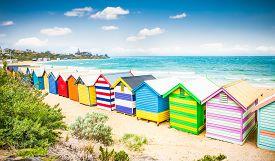 foto of bathing  - Beautiful Bathing houses on white sandy beach at Brighton beach in Melbourne - JPG