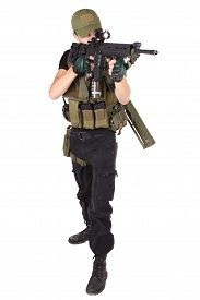 pic of m16  - mercenary with m16 rifle isolated on white - JPG