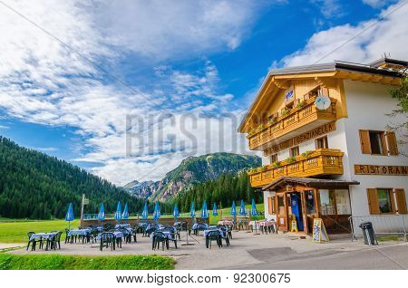 Shelter with exterior restaurant, Dolomites, Italy