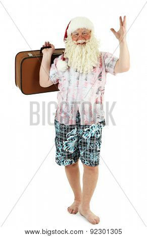 Santa Claus holding suitcase, isolated on white