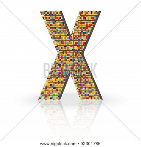 3D Vector Font With Reflection Alphabet Letter X