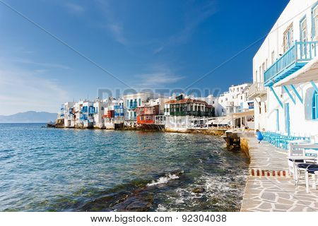 Panorama of Little Venice popular tourist area at village on Mykonos island, Greece, Europe