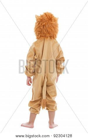 Cute Little Child Dressed In Lion Suit
