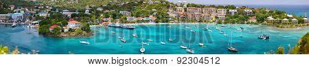 Panorama of Cruz Bay the main town on the island of St. John USVI, Caribbean