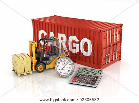 Container With Forklift Stacker Loader Holding Cardboard Boxes And Stopwatch. Concept Of Delivering,